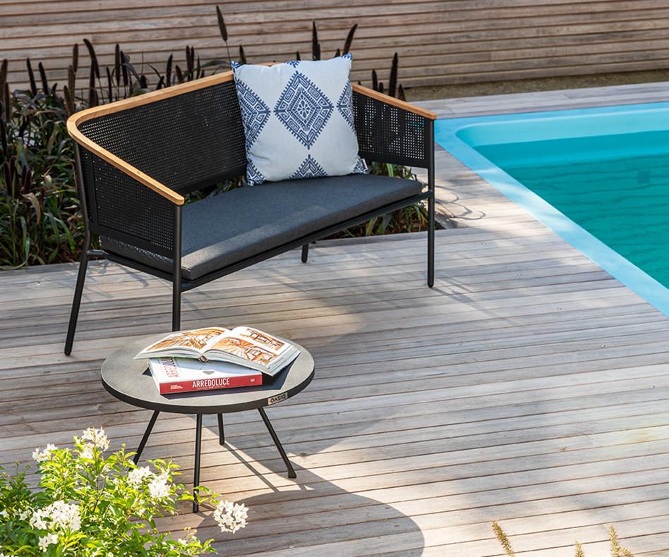 Exklusives Oasiq 2-Sitzer Design Gartensofa Riad Anthrazit Aluminium Gestell