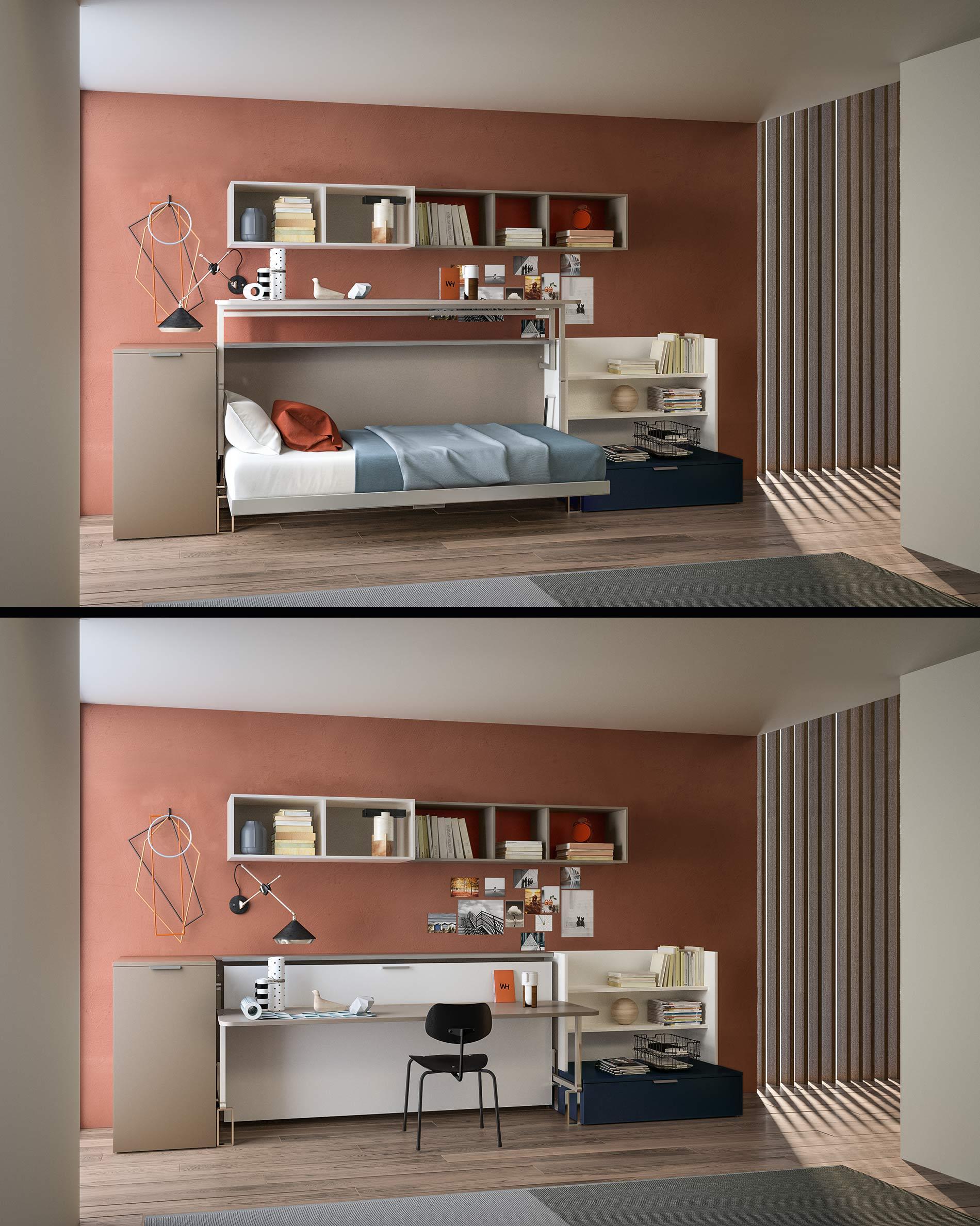 Kinderzimmer mit Schreibtisch und Klappbett