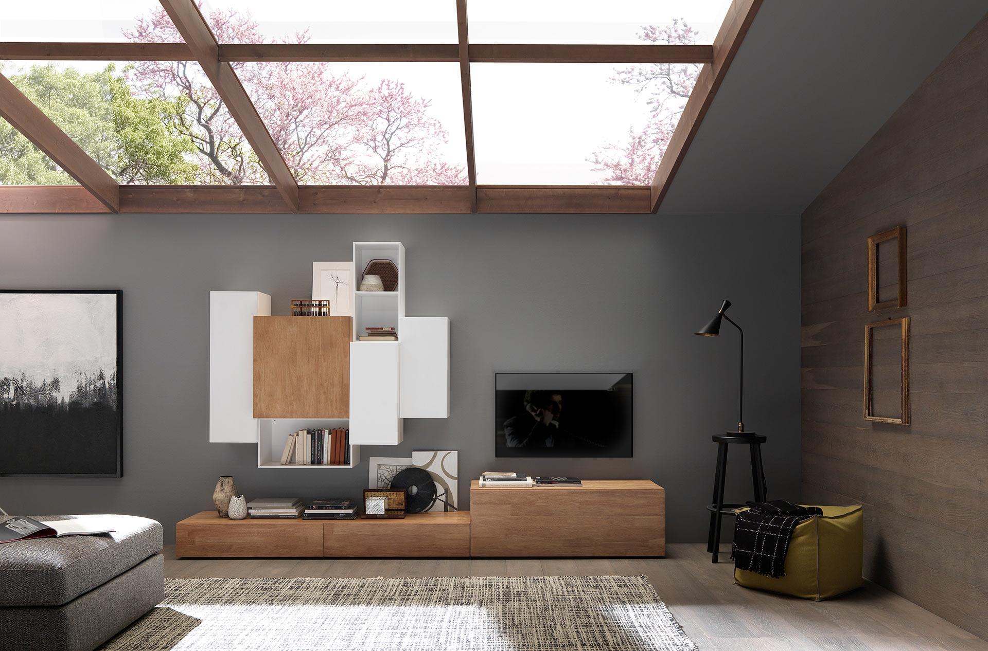 Design Massivholzmöbel Wohnwand
