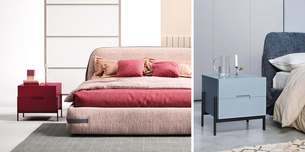 Der moderne Nachttisch Float hat ein geradliniges Design und eine Höhe von 50 cm.