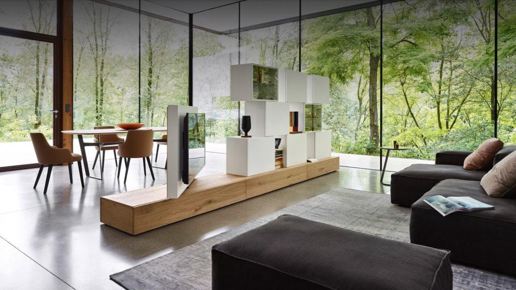 Flexibel einsetzbare freistehende Fernsehwand für Küche, Schlafzimmer oder Büro