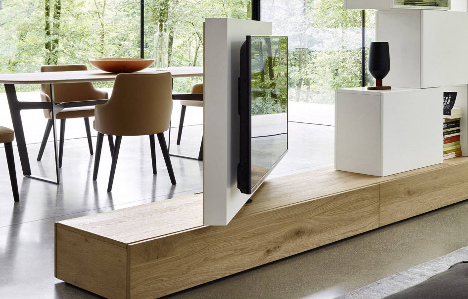 Roto Lowboard Raumteiler mit drehbarem TV Paneel