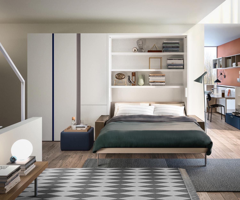 Das Clei Penelope 2 Schrankbett ist mit einem Sofa kombiniert